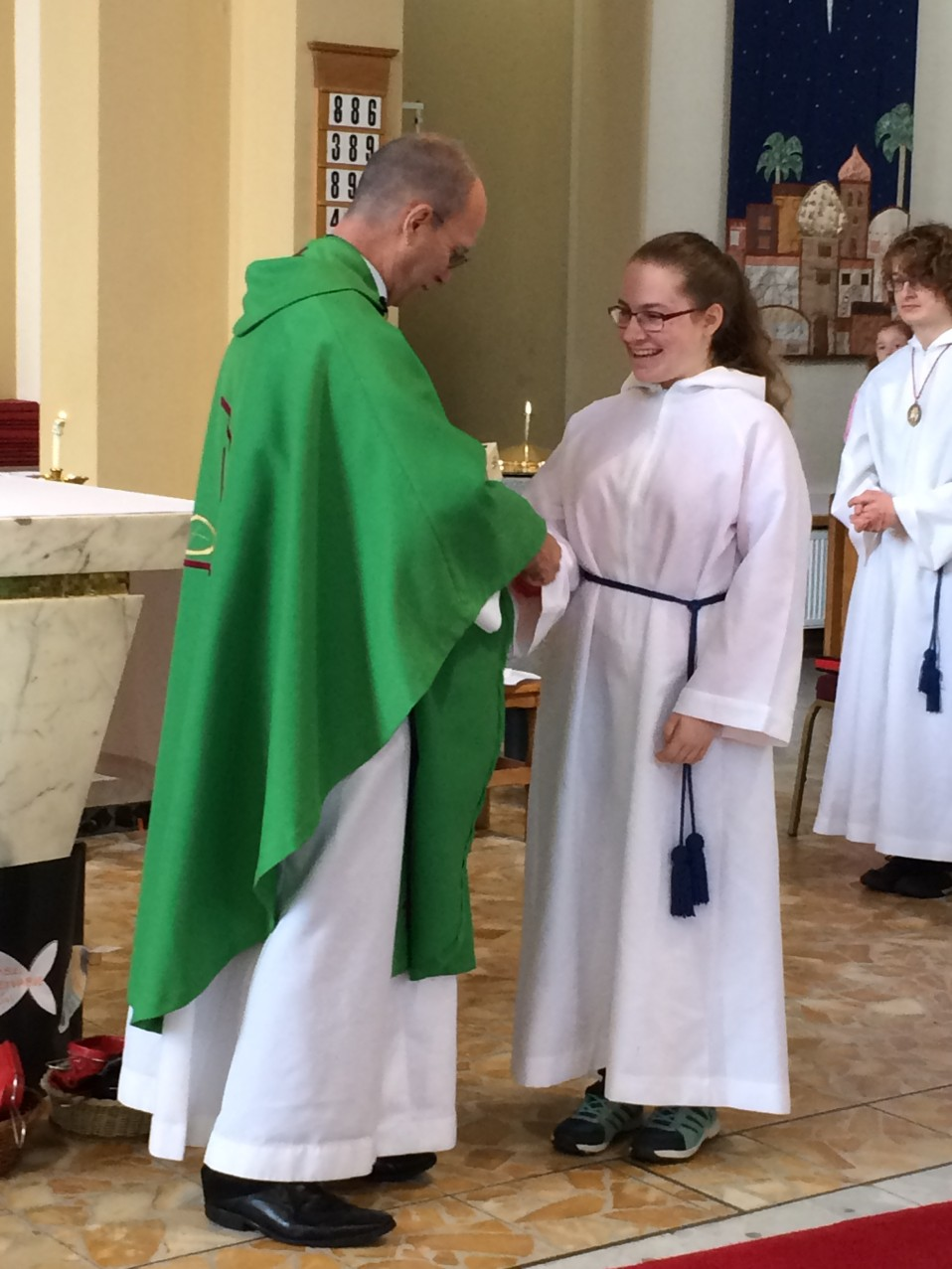 Alice Attenborough received her silver medal for 10 years Altar serving